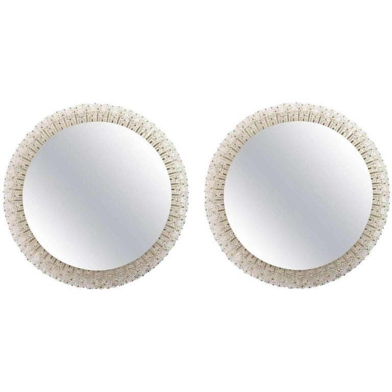 Pair of Large Emil Stejnar Backlit Mirrors for Rupert Nikoll, Austria, 1950s
