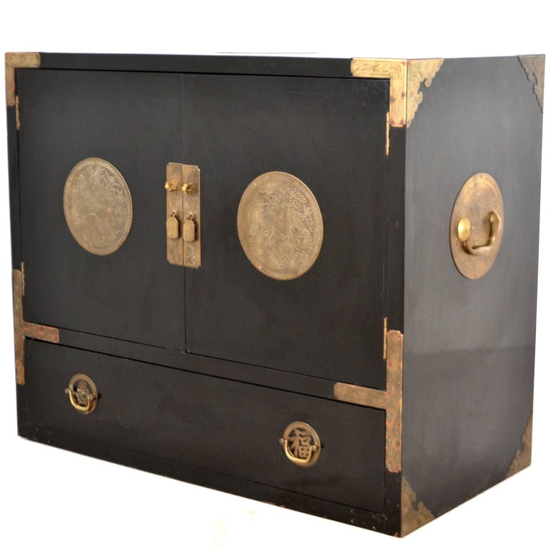 Midcentury Black Lacquered Asian Campaign Chest