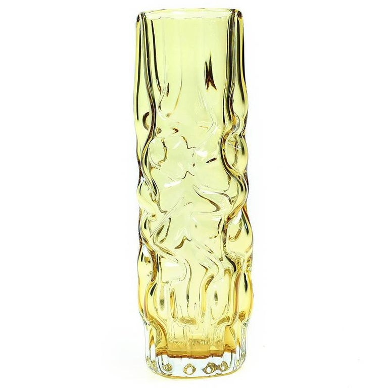 Yellow Brain Vase by Pavel Hlava for Glass Union Crystalex, Czechoslovakia, 1968 For Sale