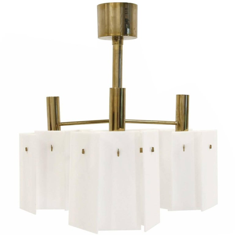 Scandinavian Chandelier in Brass, 1960s
