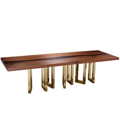 """Il Pezzo 6 Long Table"" majestic top dining table with a contrast dark vein"