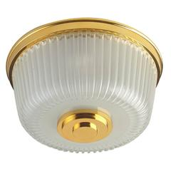 Italian Mid-Century Ribbed Glass Ceiling Fixture