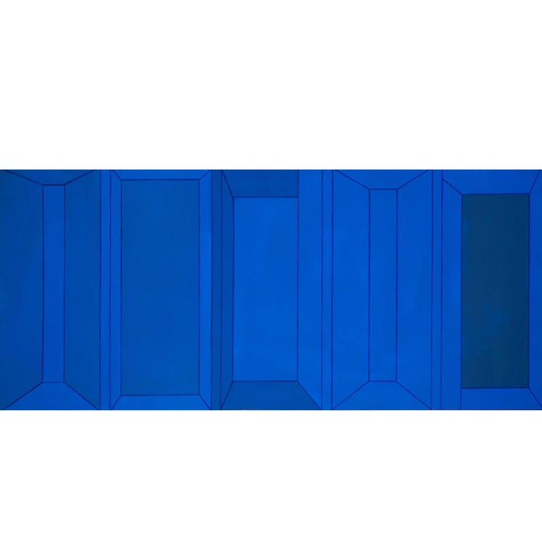 Benjamin Abramowitz Abstract Modern Blue Hard Edge Painting, 1970