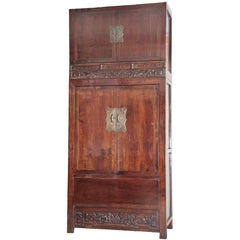 Antique Walnut Compound Cabinet, Relief-Carved Fu-Dogs, Chinoiserie