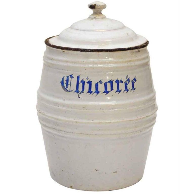 1950s White Chircoree French Kitchen Pot For Sale