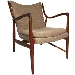Finn Juhl Sculptural Teak Danish Modern NV45 Chair for Neils Vodder