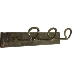 1940s French Industrial Steel Three Hook Rack with a Distressed Nickel Finish
