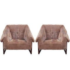 Pair of Modern Percival Lafer Brown Suede and Rosewood Lounge Chairs