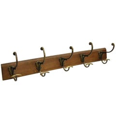 Traditional Style French Wood Plank Rack with Five Brass Hooks