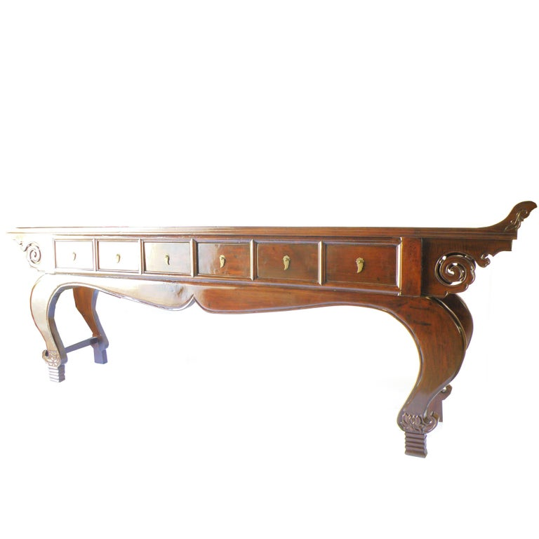 Walnut Very Large Antique Chinese Altar Table, Cabriole Legs, Shaanxi