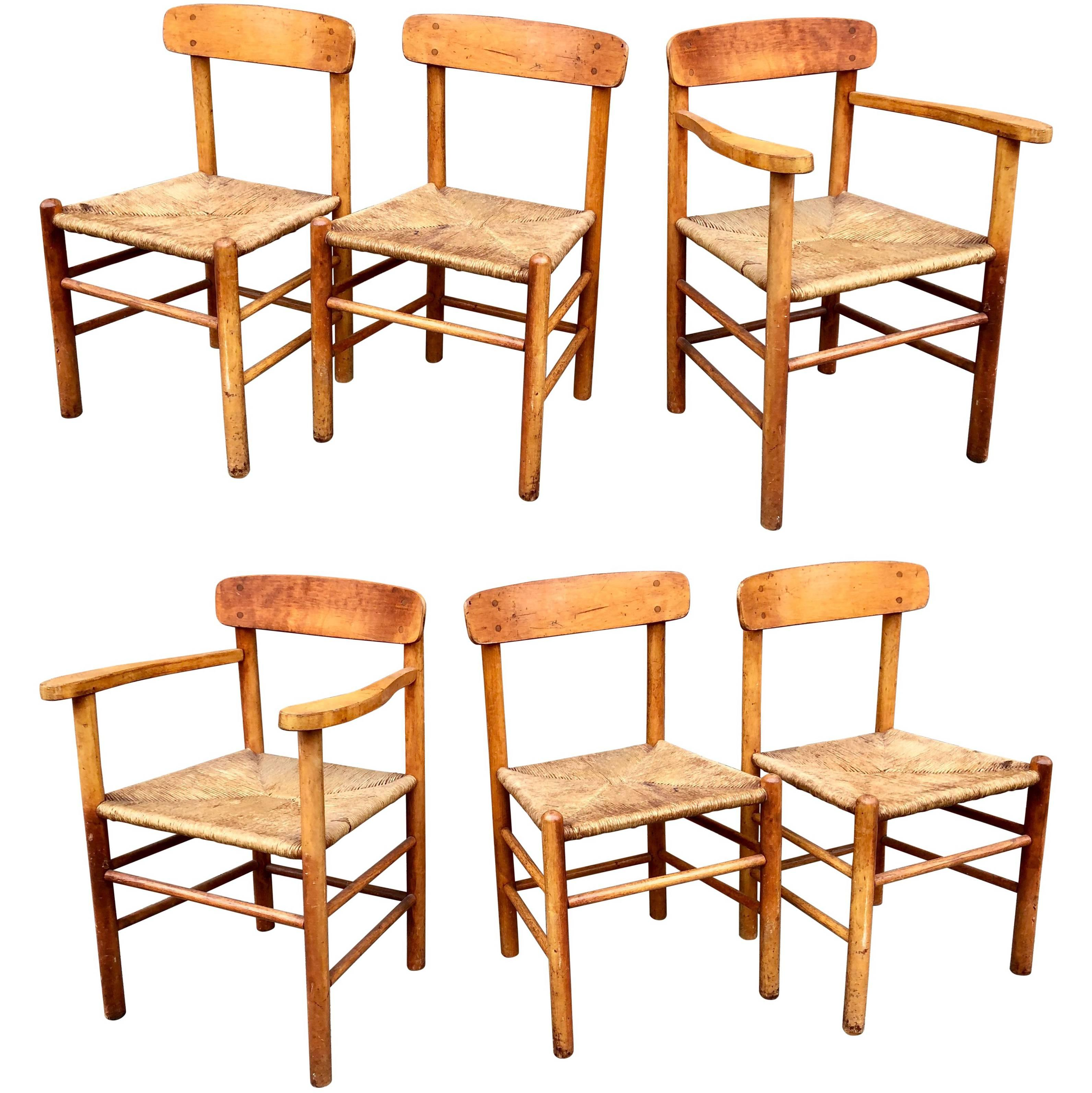 Set Of Six Borge Mogensen Shaker Dining Chairs At 1stdibs