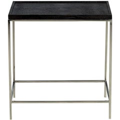 Modern Leather Top Chrome End Table