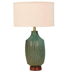 David Cressey Teal Ceramic Table Lamp for Architectural Pottery