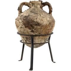 Italian Terracotta Amphora on Wrought Iron Tripod Stand