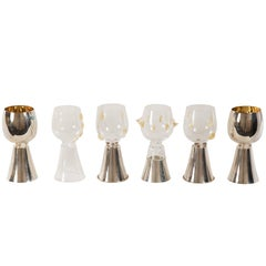 Set of Six Serego Alighieri Masi Pewter and Glass Goblets
