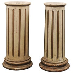 Pair of French 19th Century Tapered and Fluted Columns with Original Cream Paint