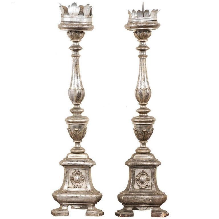 Pair of Tall Italian 19th Century Silver Gilt Candlesticks from Italian Church For Sale