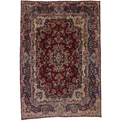 Vintage Persian Yazd Rug with Traditional Style and Jewel-Tones