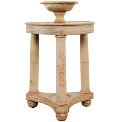 Italian Vintage Two-Tiered Gueridon Table with Original Old Hand-Painted Details