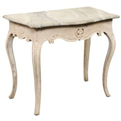 18th Century Swedish Wood & Hand-Painted Faux Marble-Top Cream Color Side Table
