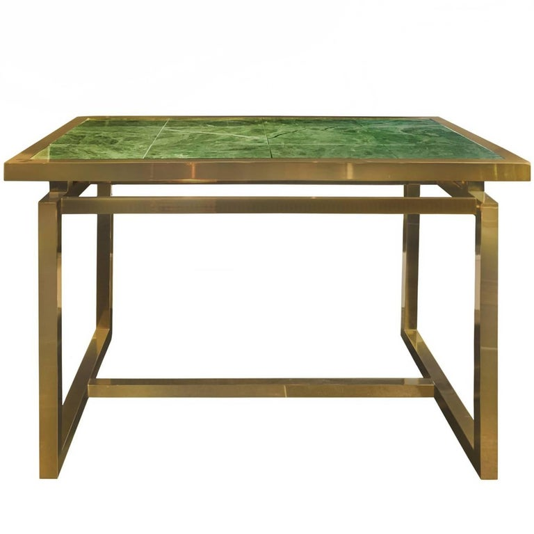 1970s Brass Desk with Green Marble Cantilevered Top For Sale