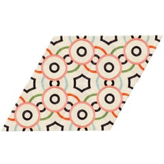 Kinder Modern Parallelogram Milk Circle Dot Rug in 100% New Zealand Wool