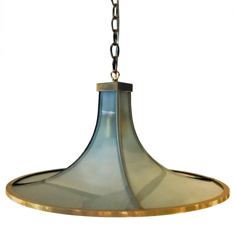 1970s Bronze and Green Satin Glass Chandelier 1