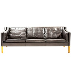 Børge Mogensen Three-Seat Sofa Model 2213 in Black Leather