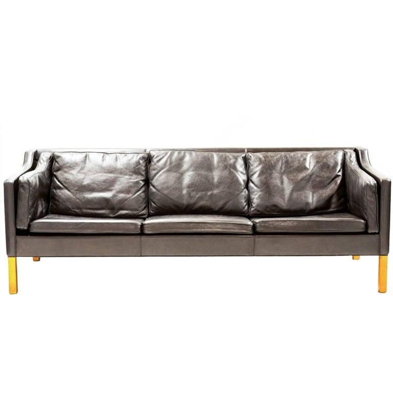 Børge Mogensen Three-Seat Sofa Model 2213 in Black Leather