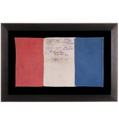 "WWII French Liberation Flag with American Saluations ""Hurrah for America"""