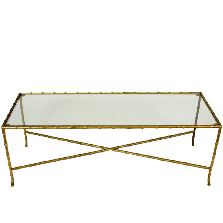 Brass and Glass Faux Bamboo Cocktail Table