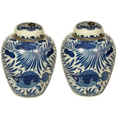 Pair of Export Chinese Jars with Lids