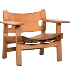 "Borge Mogensen ""Spanish"" Chair in Cognac Leather and Oak for Fredericia, Denmark"