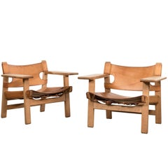 "Borge Mogensen Pair of ""Spanish"" Chair in Cognac Leather and Oak, Denmark"