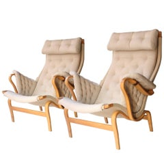 "Bruno Mathsson ""Pernilla"" Model Brown Beige Birch Wood Swedish Armchairs, 1950"