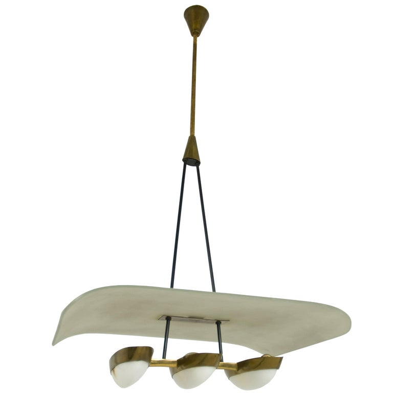 Midcentury Three-Light Brass, Perspex & Glass Pendant Attributed to Arredoluce