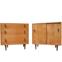Small Cabinet and Dresser Set in Walnut by Stanley Young of California