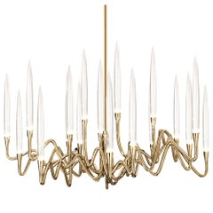 """Il Pezzo 3 Round Chandelier"" Gold Plated Brass Structure and Solid Crystals"