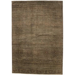 New Transitional Ikat Area Rug with Modern Design and Warm, Neutral Colors
