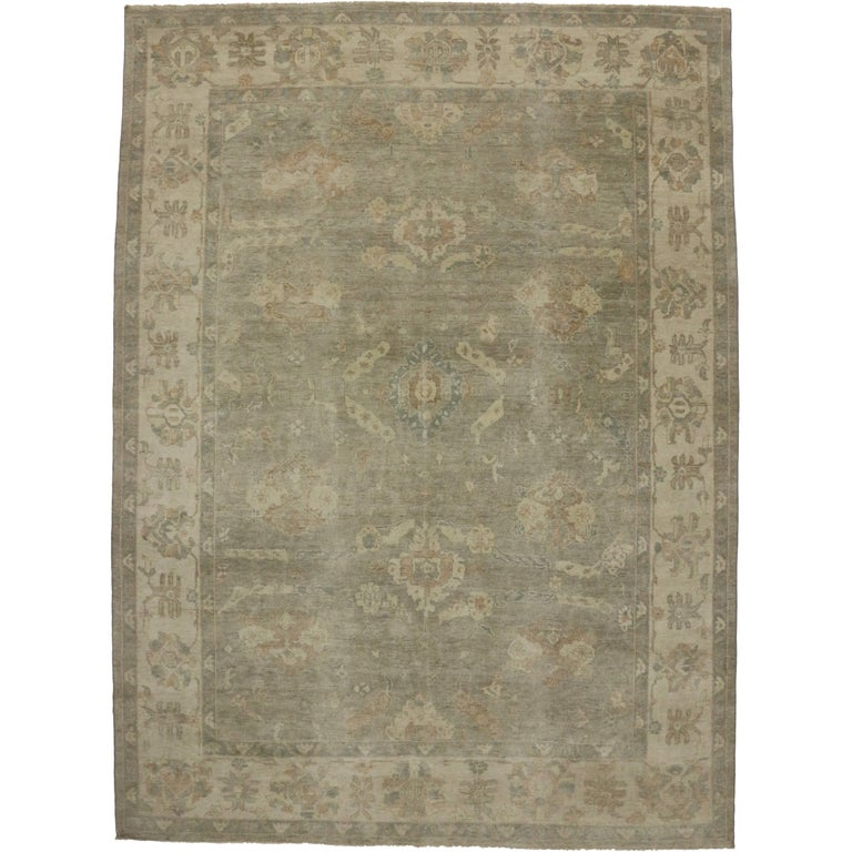 Contemporary oushak style rug with warm neutral colors for Warm rugs