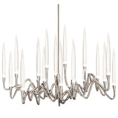 """Il Pezzo 3 Round Chandelier"" Made in Italy LED lamp, in nickel plated brass"