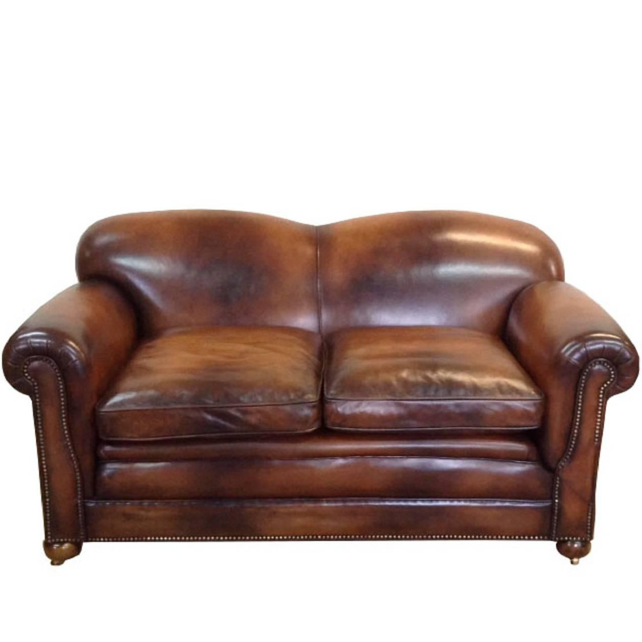 Antique Victorian Drop End Leather Sofa