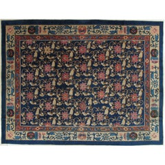 Antique Chinese Carpet, Oriental Rug, Handmade Nice Blue, Beige, Unusual Design