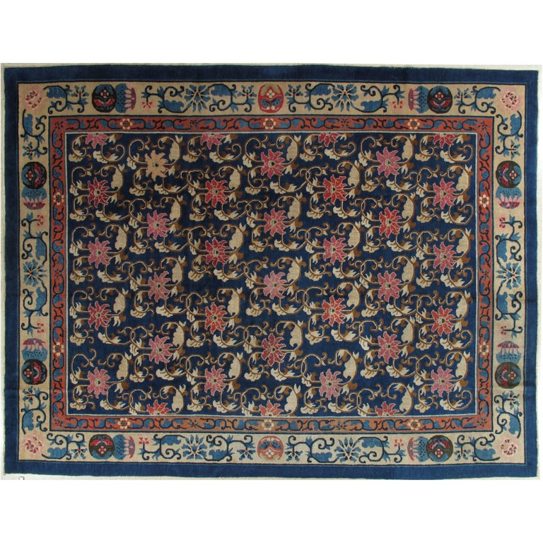 Antique Chinese Rug: Antique Peking Chinese Rug, Handmade Oriental Rug, Blue