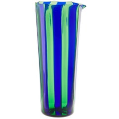 Campbell-Rey Octagonal Striped Carafe in Green and Blue Murano Glass