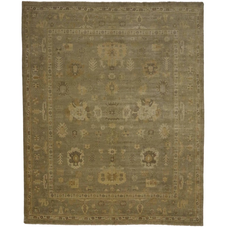 Contemporary Oushak Style Rug With Warm, Neutral Colors