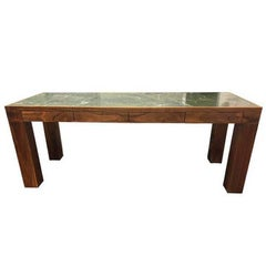 Custom Walnut and Green Stone Top Writing Desk
