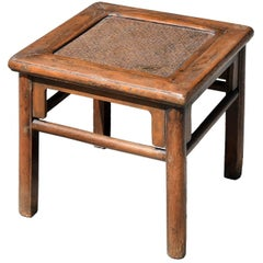 Antique Rattan Top Stool Low Table
