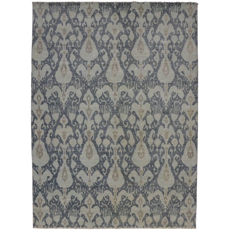 new modern transitional ikat style area rug gray blue ikat rug for