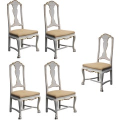 Shapely Set of Five Portuguese Rococo Ivory Painted Side or Dining Chairs